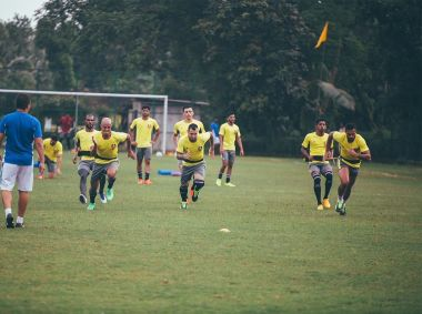 FC Goa team during their practice session ahead of their clash with NorthEast United FC. Image courtesy: Twitter/ FC Goa official