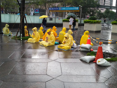 Practitioners of the Falun Gong sect protesting against China. Sanjay Singh/Firstpost