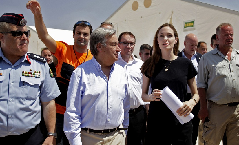 File photo of Antonio Guterres with Angelina Jolie in Mafraq, Jordan. AP