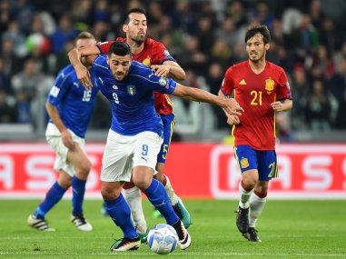 Italy's Graziano Pelle in action against Spain during the WC 2018 qualifier. AFP