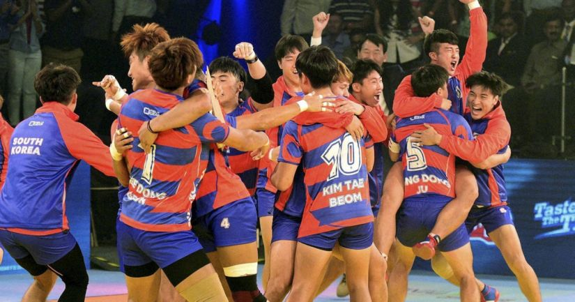 South Korean players celebrates after win the inaugural match against India during the Kabaddi World Cup-2016 in Ahmedabad. PTI