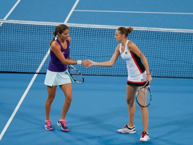 Julia Goerges of Germany and Karolina Pliskova of Czech Republic at the China Open. Getty