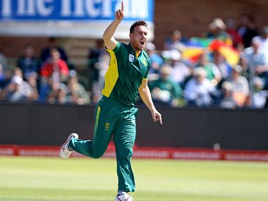 Kyle Abbott of South Africa celebrates taking the wicket of David Warner in the 4th ODI. Getty