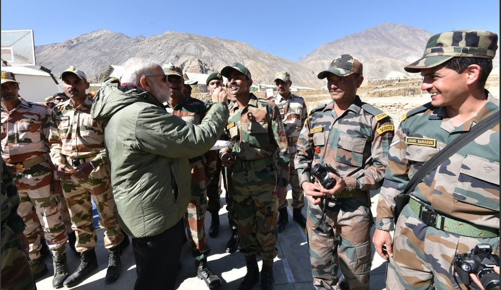 PM Modi celebrates Diwali with jawans in Sumdo, Himachal Pradesh. PTI