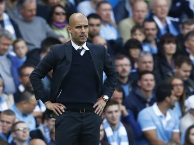 Manchester City manager Pep Guardiola during the match against Everton. Reuters