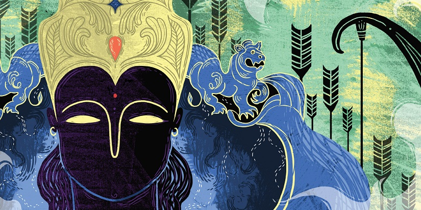 From Arshia Sattar's Ramayana for children, illustrated by Sonali Zohra