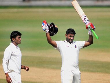 Delhi's batsman Rishab Pant celebrates after completing his 300 runs during a Ranji trophy match against Maharashtra at Wankhede Stadium. PTI