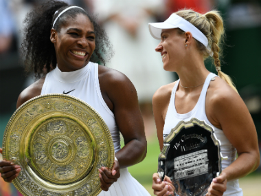 File photo of Serena Williams (L) and Angelique Kerber. AFP