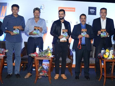 Virat Kohli along with Kapil Dev, Anil Kumble and Ravi Shastri at the launch of the book. Image courtesy: Twitter/@BCCI