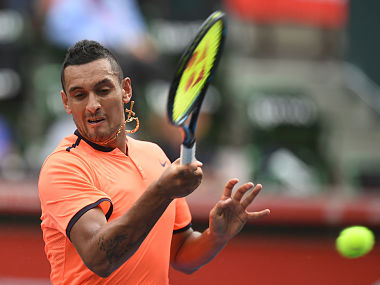 Nick Kyrgios in action against Ryan Harrison at the Japan Open. AP