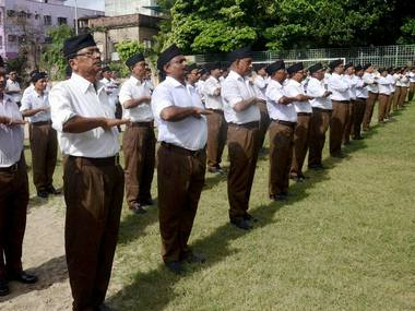 Representational image of RSS volunteers. PTI
