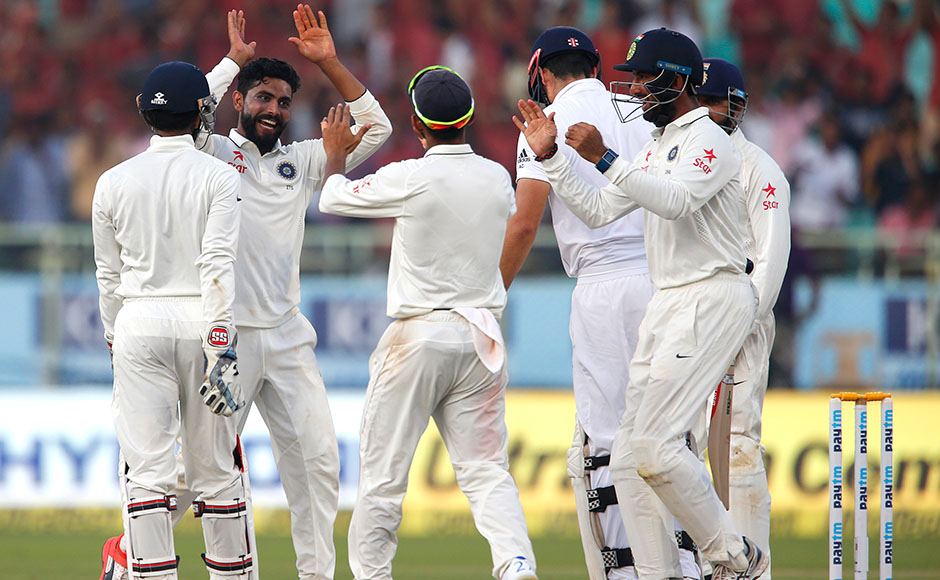 England captain Alastair Cook was finally dismissed in the last over of the fourth day on Sunday in a defiant 188-ball innings, leaving India needing eight more wickets to win the second Test. The visitors were at 87-2 in its second innings at stumps after almost 60 overs as they chase an improbable target of 405 — another 318 runs — for victory with one day left. AP