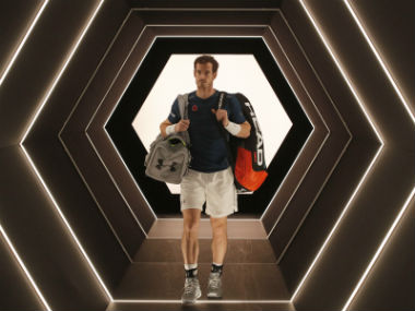 Andy Murray walks out to the Bercy Arena for a practice session during the Paris Masters. AP