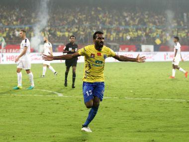 CK Vineeth scored a late brace to help Kerala Blasters to a 3-1 win over Chennaiyin FC. Image Courtesy: ISL