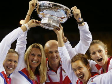 The Czech players celebrate their win. AP