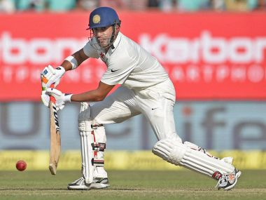 Gautam Gambhir plays a shot on the second day of the first Test match against England. PTI