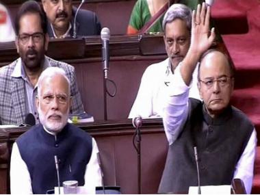 PM Modi and Finance Minister Arun Jaitley during the Rajya Sabha proveedings on Thursdday. PTI