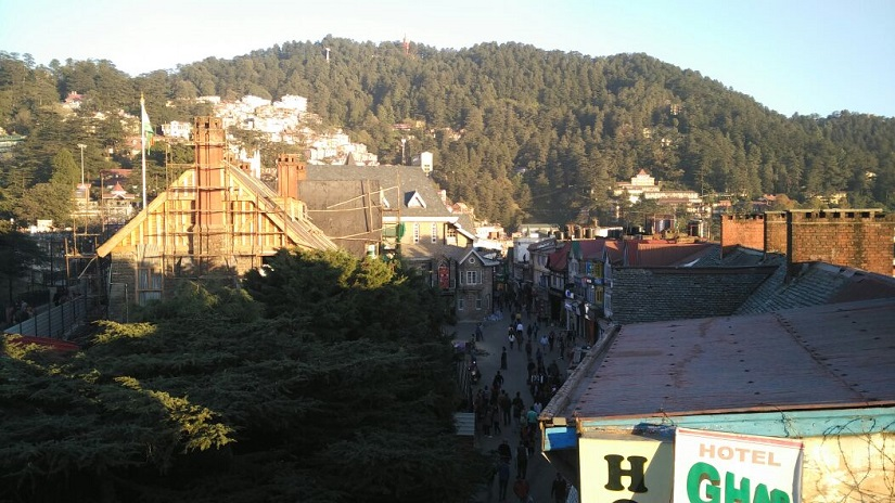 Mall Road with Jakhoo Hill in the background