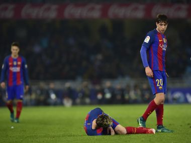 FC Barcelona's Lionel Messi ans Sergio Roberto in the match against Real Sociedad. AP