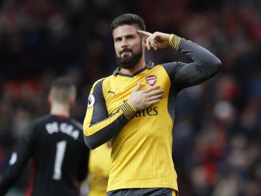 Arsenal's Olivier Giroud celebrates after the United game. Reuters