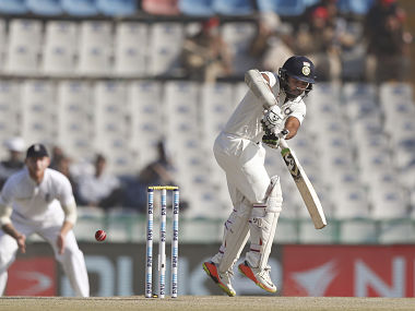 India's Parthiv Patel plays a shot on the second day of their third cricket test match against England in Mohali. AP