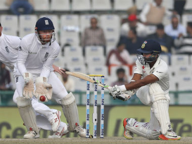 Parthiv Patel plays a sweep during India's second innings. AP