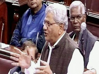 CPM general secretary Sitaram Yechury in Rajya Sabha on Wednesday. PTI
