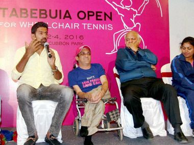 Rohan Bopanna speaks during the press conference announcing India's first AITA ranking wheelchair tennis tournament. PTI