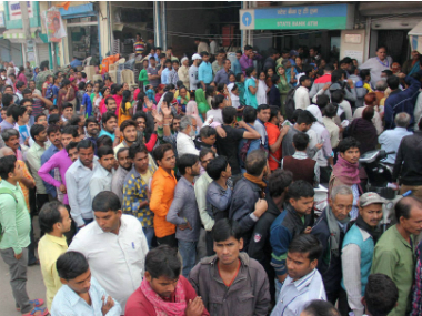 Queue outside a SBI branch on Wednesday. PTI