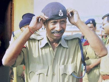 A file photo of Central Jail head constable Ramashankar who was killed by SIMI terrorists during their escape from Central Jail on Monday in Bhopal. PTI