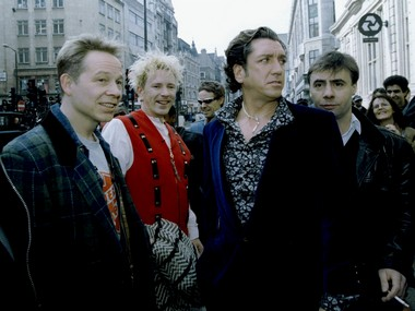 A file image of four original members of the Sex pistols (L-R) Paul Cook, Johnny Rotten, Steve Jones, and Glen Matlock from 1996. Reuters