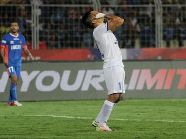 Sunil Chhetri reacts after missing a goal scoring chance. ISL