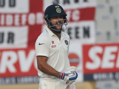 Virat Kohli reacts after India completed an eight-wicket win over England. AP