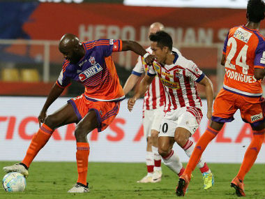 Action between FC Pune City and Atletico de Kolkata. ISL