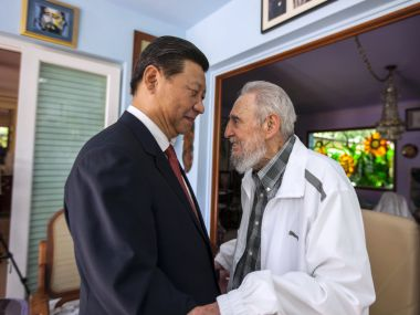 In this file photo Cuba's former President Fidel Castro greets China's President Xi Jinping in Havana, Cuba. AP