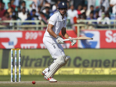 Alastair Cook plays a shot on Day 4 of the 2nd Test against India at Visakhapatnam. AP