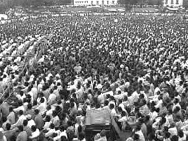 Maoists rally at Uppal Ground in Hyderabad before the peace talks. Image sourced by GS Radhakrishna