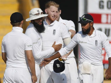 England players celebrate the dismissal of Umesh Yadav on Day 3 of the 3rd Test against India. AP