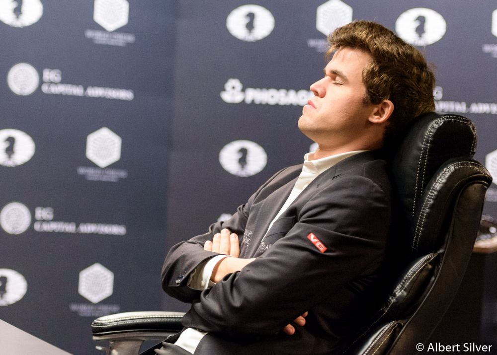 Magnus Carlsen let Sergey Karjakin off the hook in the second rapid tiebreak game  (image courtesy Albert Silver