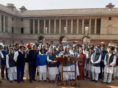 Opposition leaders after meeting President Pranab Mukherjee. PTI