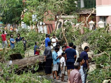 Residents looking at uprooted trees in an area in Chennai. PTI