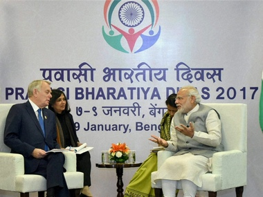 PM Modi meets Frace's Foriegn Minister at Pravasi Bharatiya Diwas, seeks to bolster ties with Paris