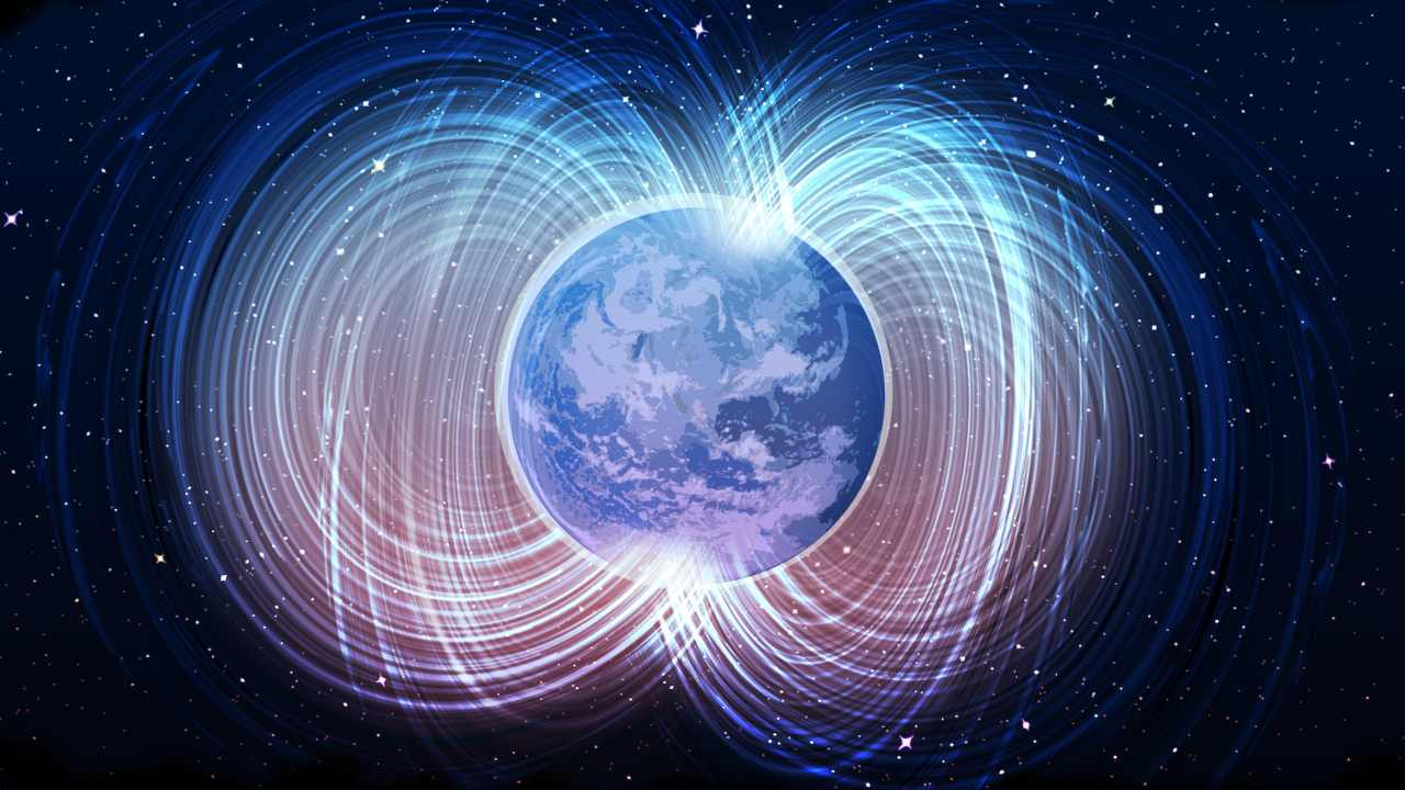 An illustration of Earth's magnetic field lines.