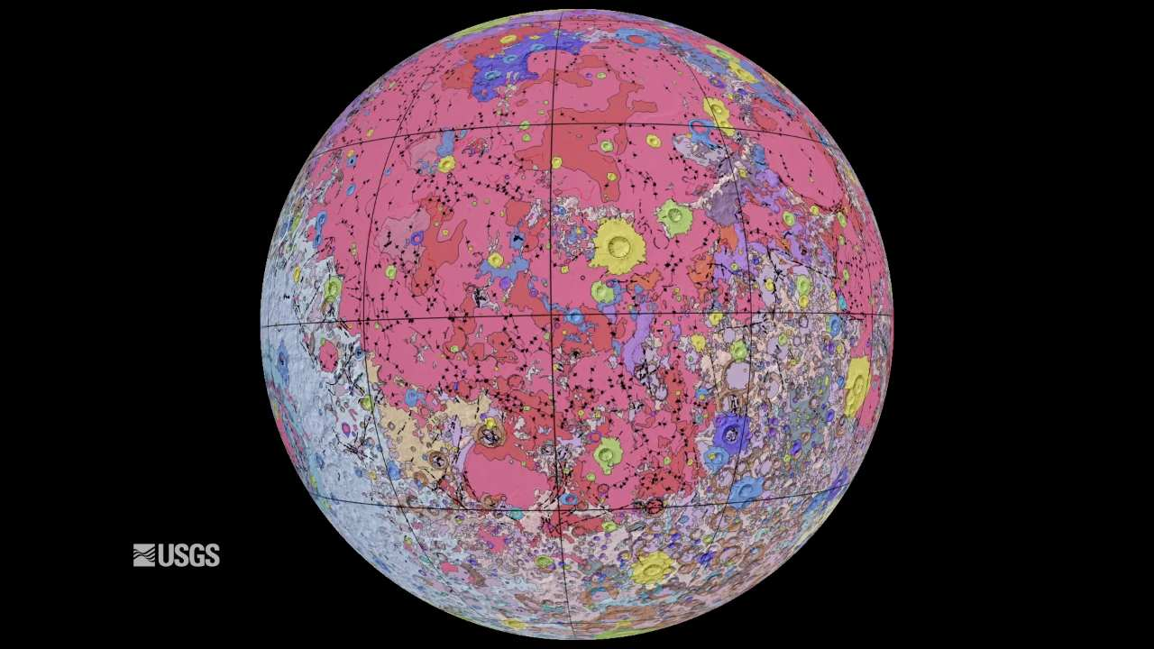 Unified Geologic Map of the Moon will serve as a reference for lunar science and future human missions to the Moon. Credit: NASA/GSFC/USGS.