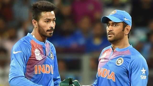 Hardik Pandya and MS Dhoni at the 2016 World T20. AFP
