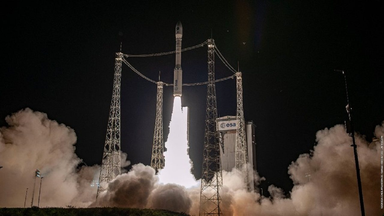 The ESA-Arianespace Vega rocket launched from French Guinea Image credit: ESA/Twitter