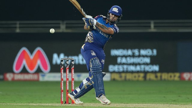 Ishan Kishan of Mumbai Indians in action during an IPL match against RCB. SportzPics