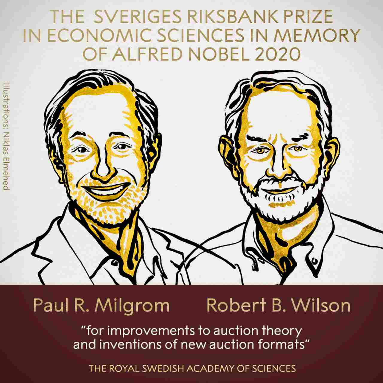 The 2020 Nobel Prize in Economics is awarded to Paul Milgrom and Robert Wilson for their contributions to auction theory. Image Credit: Niklas Elmehed/Royal Swedish Academy of Sciences