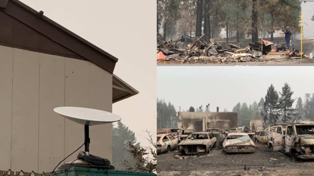 SpaceX's Starlink internet satellites helped emergency responders assist residents in rebuilding the town of Malden, Washington, which was overcome by wildfires earlier this month. Image Credit: Washington Emergency Management Division @waEMD/Twitter
