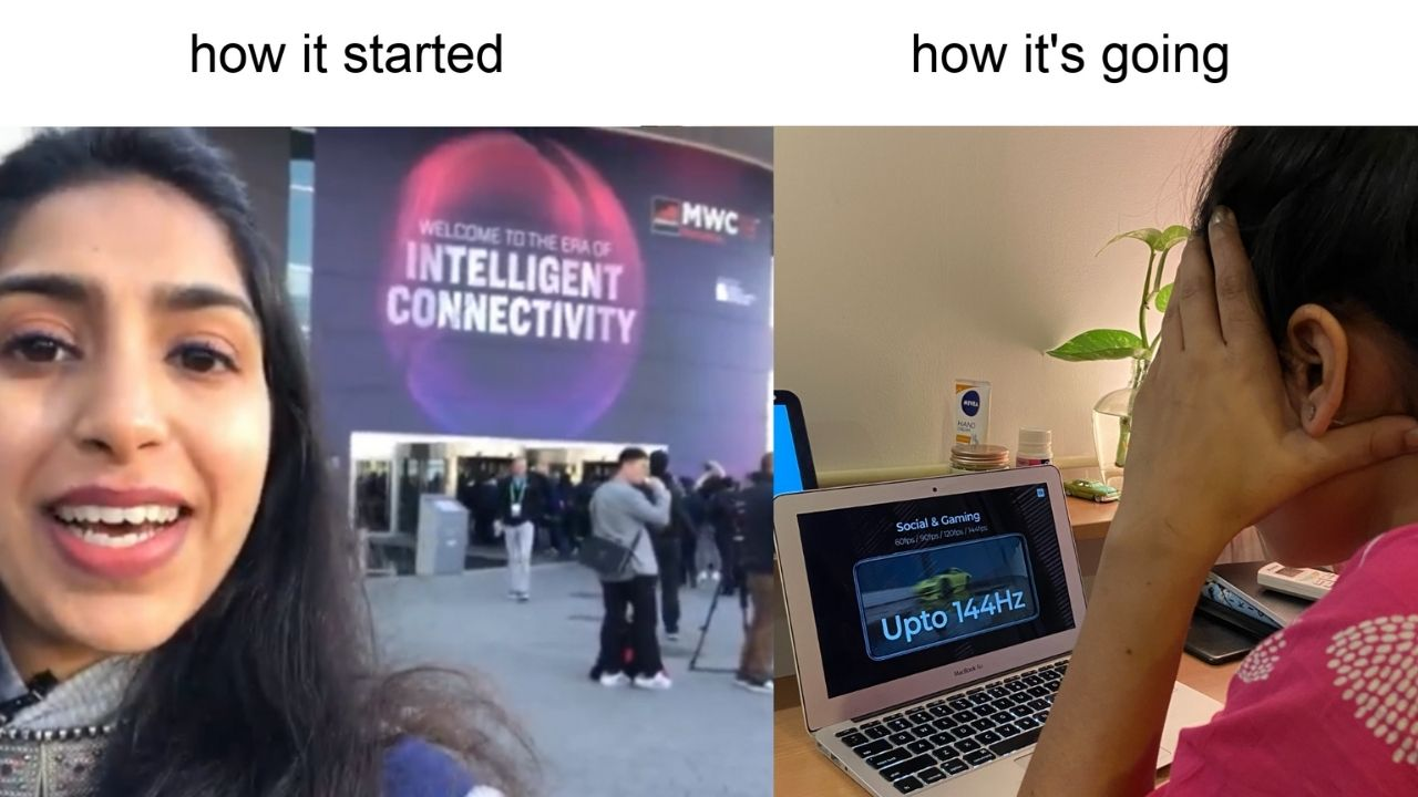 That's me at MWC 2019 vs me RN.